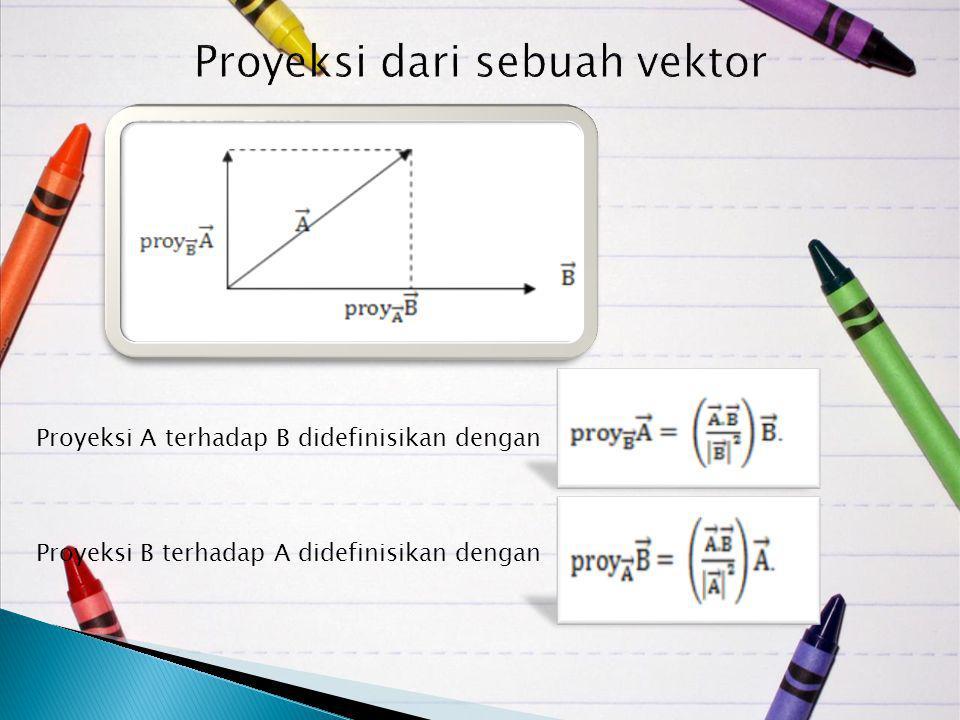 Proyeksi A terhadap B didefinisikan dengan Proyeksi B terhadap A didefinisikan dengan