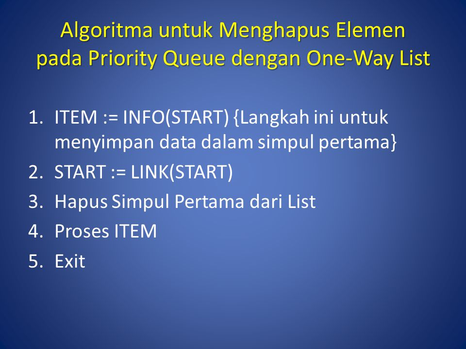 Algoritma untuk Menghapus Elemen pada Priority Queue dengan One-Way List 1.ITEM := INFO(START) {Langkah ini untuk menyimpan data dalam simpul pertama}