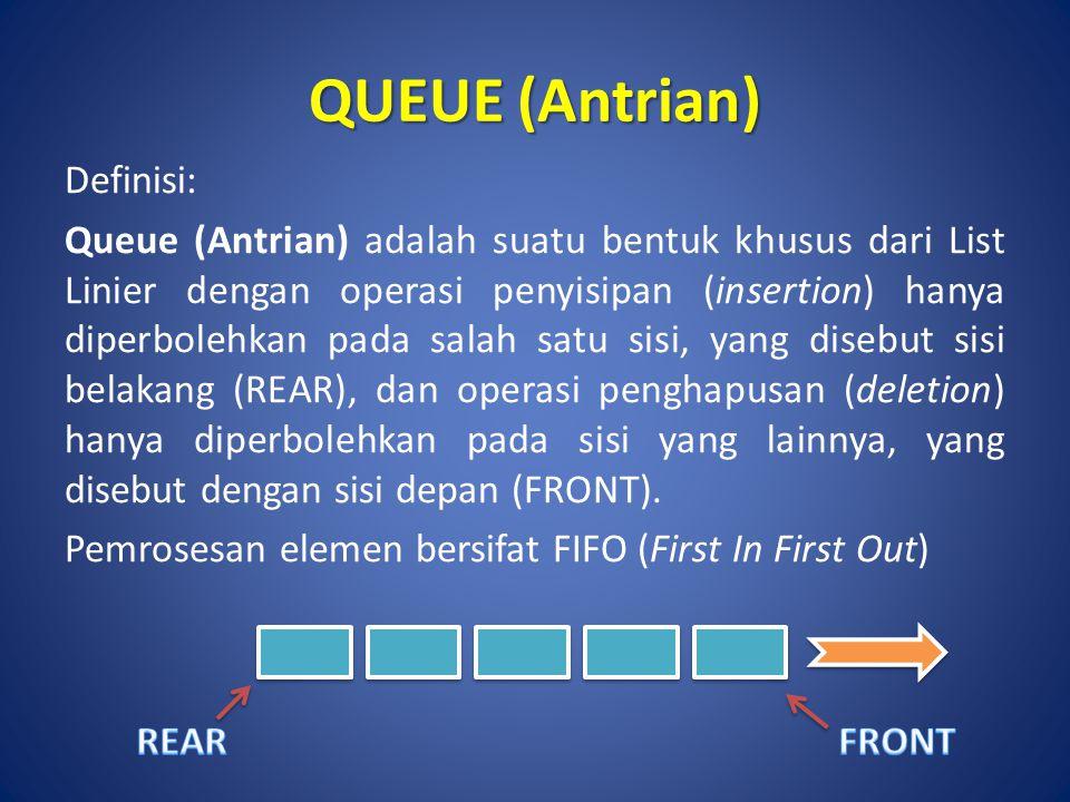 QUEUE (Antrian) Definisi: Queue (Antrian) adalah suatu bentuk khusus dari List Linier dengan operasi penyisipan (insertion) hanya diperbolehkan pada s