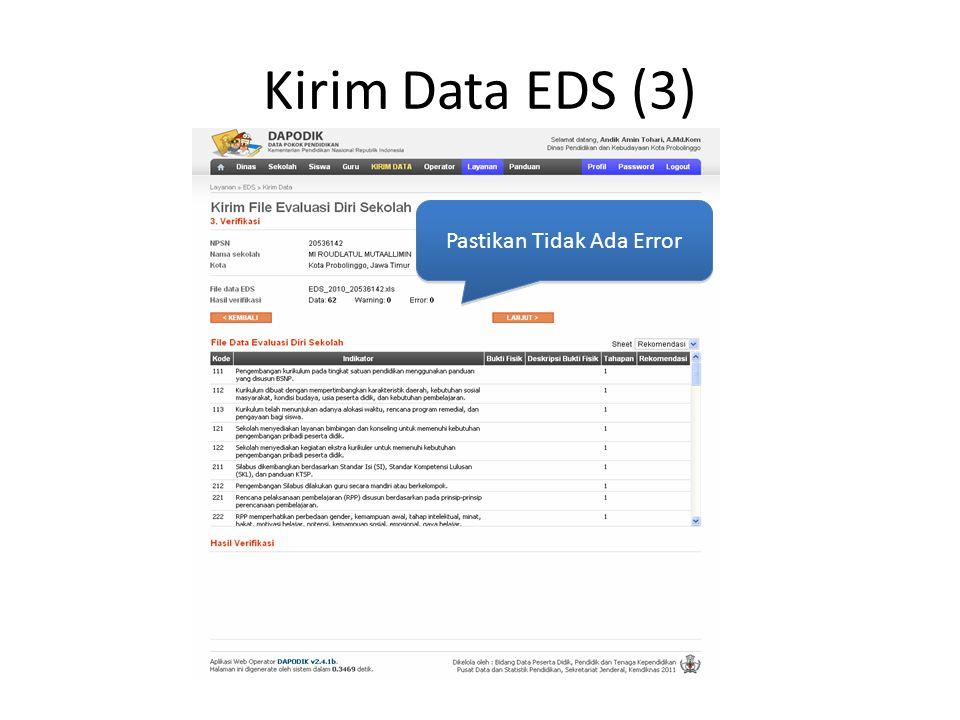 Kirim Data EDS (3) Pastikan Tidak Ada Error