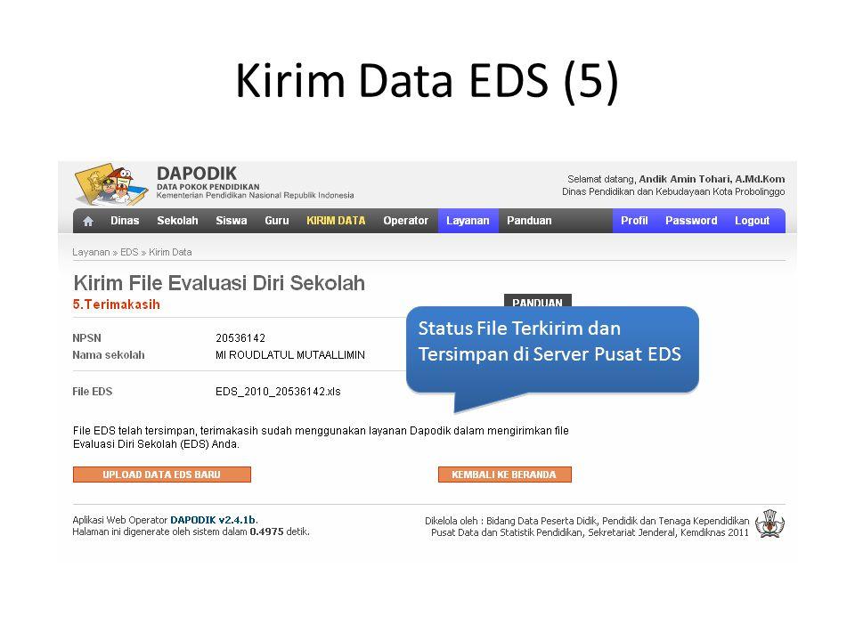 Kirim Data EDS (5) Status File Terkirim dan Tersimpan di Server Pusat EDS