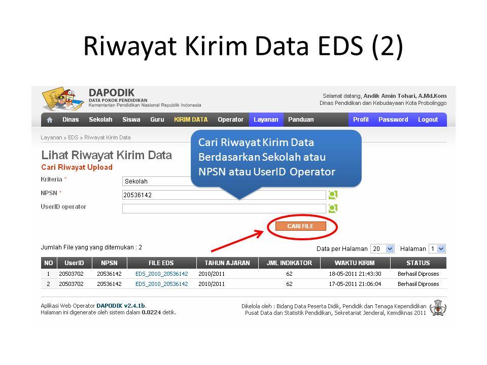 Riwayat Kirim Data EDS (2) Cari Riwayat Kirim Data Berdasarkan Sekolah atau NPSN atau UserID Operator Cari Riwayat Kirim Data Berdasarkan Sekolah atau