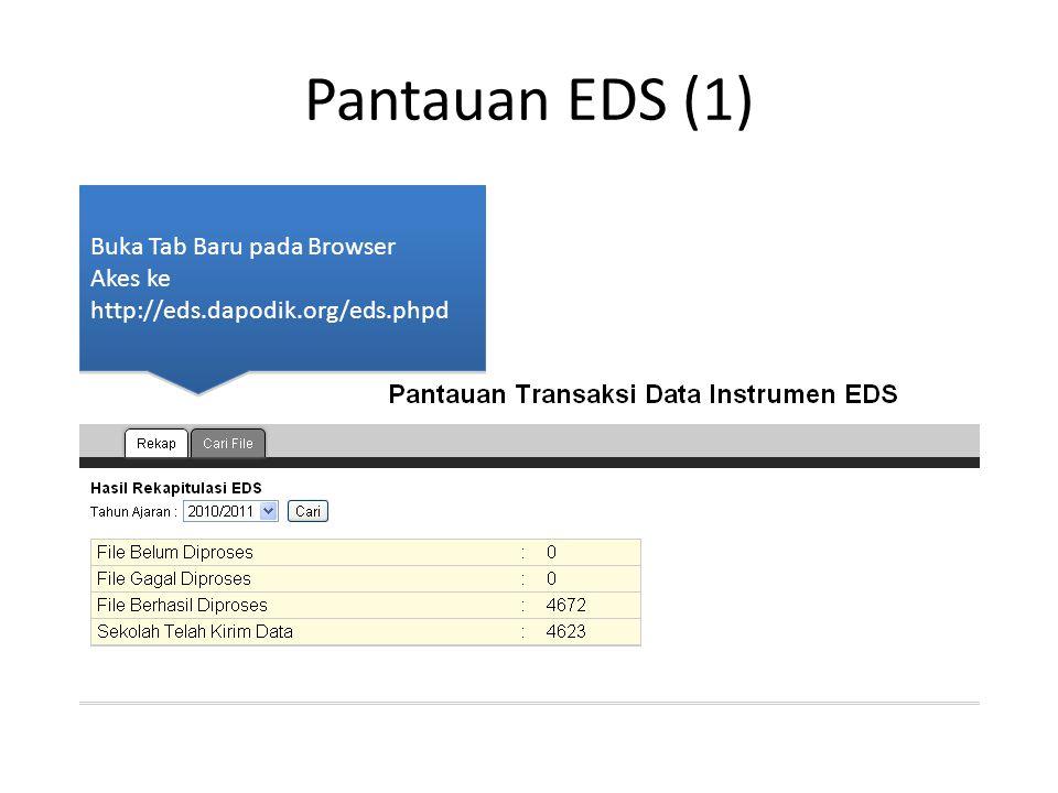 Pantauan EDS (1) Buka Tab Baru pada Browser Akes ke http://eds.dapodik.org/eds.phpd Buka Tab Baru pada Browser Akes ke http://eds.dapodik.org/eds.phpd