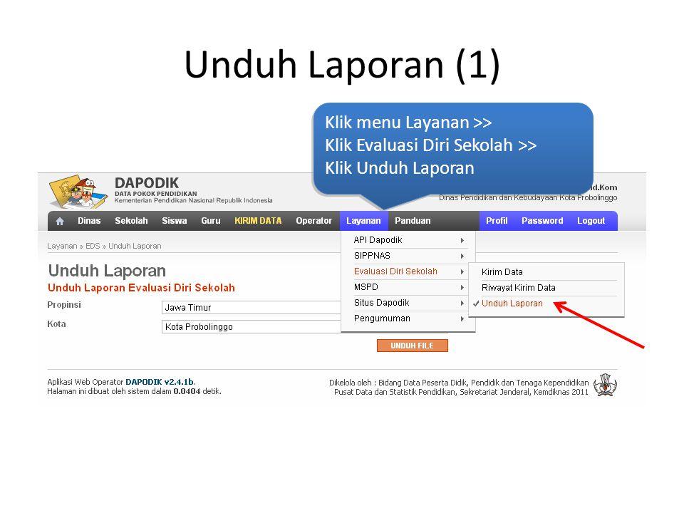 Unduh Laporan (1) Klik menu Layanan >> Klik Evaluasi Diri Sekolah >> Klik Unduh Laporan Klik menu Layanan >> Klik Evaluasi Diri Sekolah >> Klik Unduh