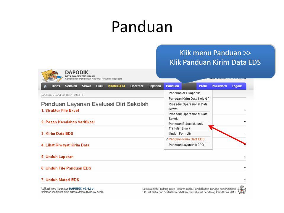 Panduan Klik menu Panduan >> Klik Panduan Kirim Data EDS Klik menu Panduan >> Klik Panduan Kirim Data EDS