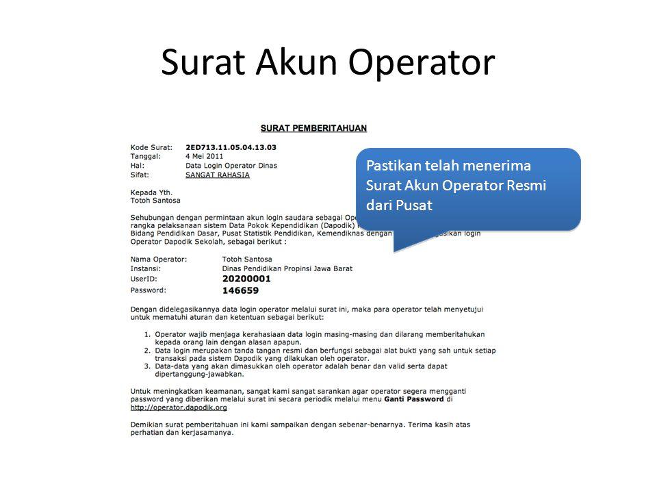 Surat Akun Operator Pastikan telah menerima Surat Akun Operator Resmi dari Pusat Pastikan telah menerima Surat Akun Operator Resmi dari Pusat