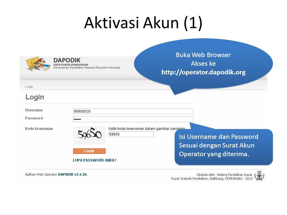Aktivasi Akun (1) Buka Web Browser Akses ke http://operator.dapodik.org Buka Web Browser Akses ke http://operator.dapodik.org Isi Username dan Password Sesuai dengan Surat Akun Operator yang diterima.