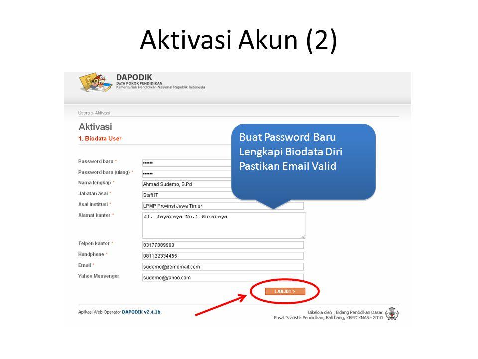 Aktivasi Akun (2) Buat Password Baru Lengkapi Biodata Diri Pastikan Email Valid Buat Password Baru Lengkapi Biodata Diri Pastikan Email Valid