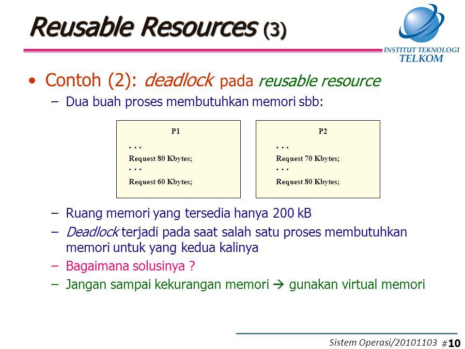 Reusable Resources (3) Contoh (2): deadlock pada reusable resource –Dua buah proses membutuhkan memori sbb: –Ruang memori yang tersedia hanya 200 kB –Deadlock terjadi pada saat salah satu proses membutuhkan memori untuk yang kedua kalinya –Bagaimana solusinya .
