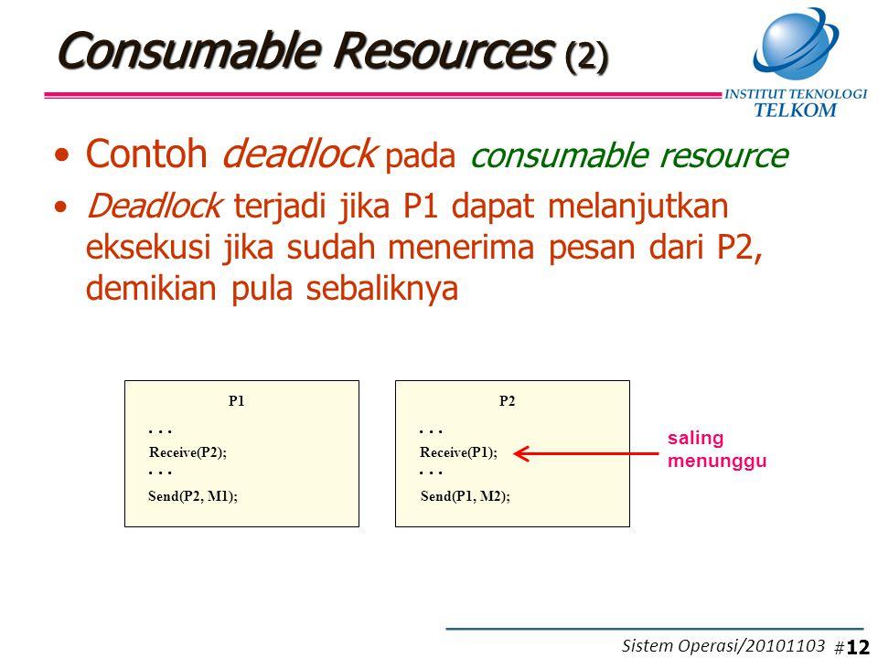 Consumable Resources (2) Contoh deadlock pada consumable resource Deadlock terjadi jika P1 dapat melanjutkan eksekusi jika sudah menerima pesan dari P2, demikian pula sebaliknya P1...