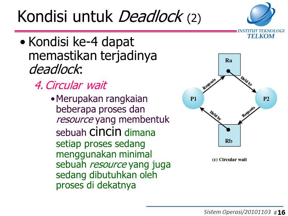 Kondisi untuk Deadlock (2) Kondisi ke-4 dapat memastikan terjadinya deadlock: 4.Circular wait Merupakan rangkaian beberapa proses dan resource yang membentuk sebuah cincin dimana setiap proses sedang menggunakan minimal sebuah resource yang juga sedang dibutuhkan oleh proses di dekatnya # 16 Sistem Operasi/20101103