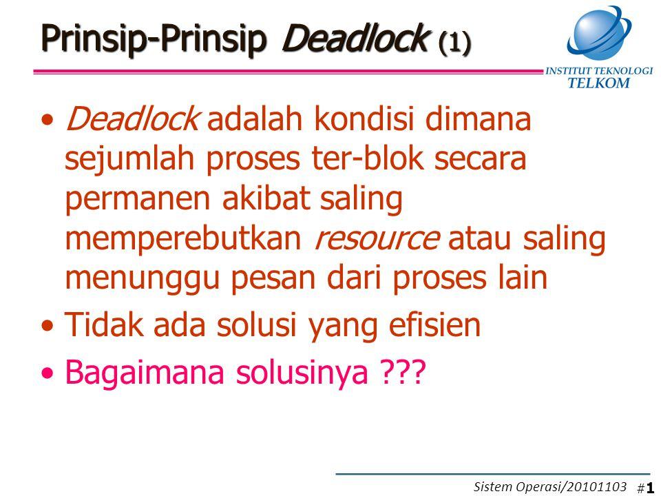 Contoh Deadlock Detection Algoritma: –Beri tanda P4, karena P4 belum mempunyai alokasi resource (nilai matriks alokasinya 0 semua) –Set W = (00001) –Karena request (Q) proses P3 lebih kecil atau sama dengan W  Beri tanda pada P3 –W = W + A = 00001 + 00010 = 00011 –Request resource (Q) proses P1 dan P2 lebih banyak daripada nilai W (resource yang tersedia)  kedua proses tidak diberi tanda –P1 dan P2 merupakan proses yang mengalami deadlock !!.