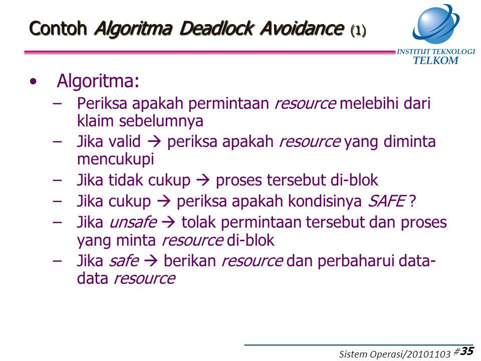 Contoh Algoritma Deadlock Avoidance (1) Algoritma: –Periksa apakah permintaan resource melebihi dari klaim sebelumnya –Jika valid  periksa apakah resource yang diminta mencukupi –Jika tidak cukup  proses tersebut di-blok –Jika cukup  periksa apakah kondisinya SAFE .
