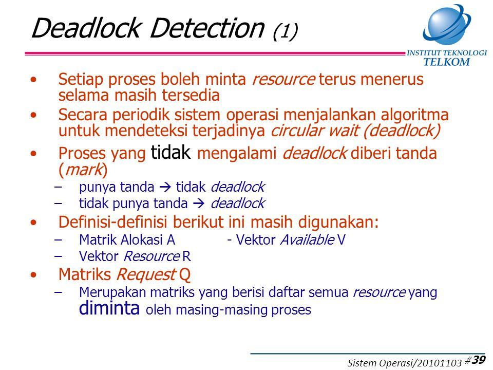 Deadlock Detection (1) Setiap proses boleh minta resource terus menerus selama masih tersedia Secara periodik sistem operasi menjalankan algoritma untuk mendeteksi terjadinya circular wait (deadlock) Proses yang tidak mengalami deadlock diberi tanda (mark) –punya tanda  tidak deadlock –tidak punya tanda  deadlock Definisi-definisi berikut ini masih digunakan: –Matrik Alokasi A- Vektor Available V –Vektor Resource R Matriks Request Q –Merupakan matriks yang berisi daftar semua resource yang diminta oleh masing-masing proses # 39 Sistem Operasi/20101103