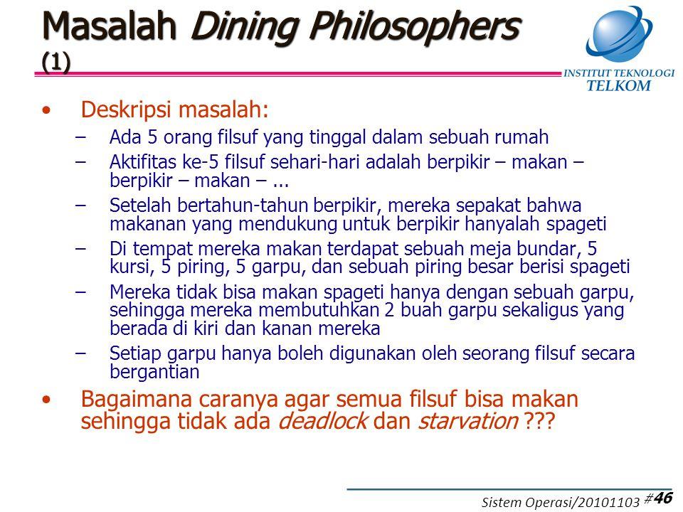 Masalah Dining Philosophers (1) Deskripsi masalah: –Ada 5 orang filsuf yang tinggal dalam sebuah rumah –Aktifitas ke-5 filsuf sehari-hari adalah berpikir – makan – berpikir – makan –...