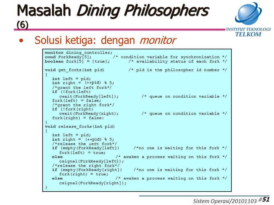 Masalah Dining Philosophers (6) Solusi ketiga: dengan monitor # 51 Sistem Operasi/20101103