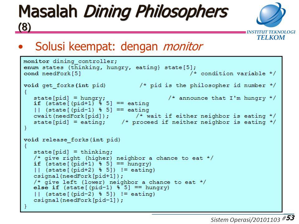 Masalah Dining Philosophers (8) Solusi keempat: dengan monitor # 53 Sistem Operasi/20101103
