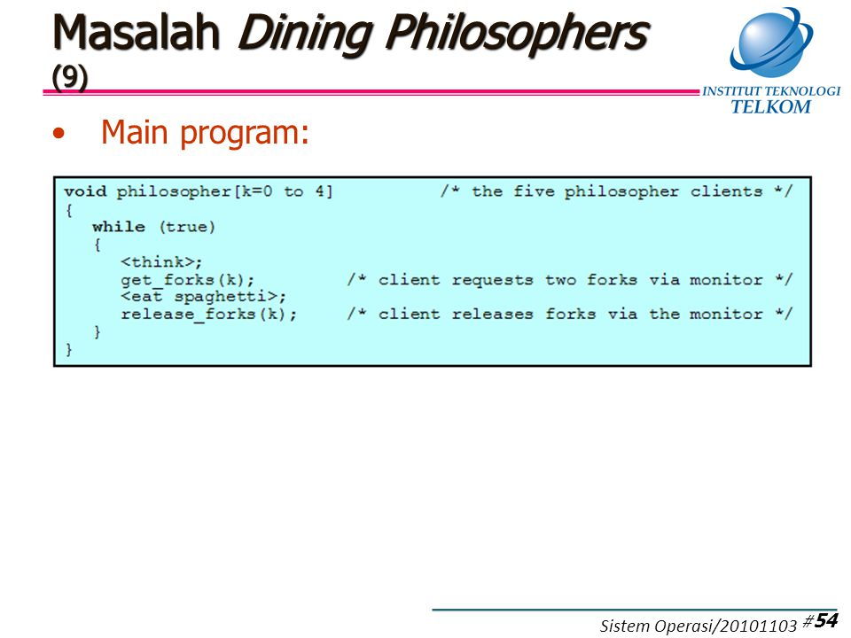 Masalah Dining Philosophers (9) Main program: # 54 Sistem Operasi/20101103