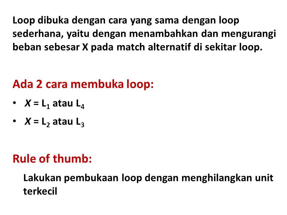 Loop dibuka dengan cara yang sama dengan loop sederhana, yaitu dengan menambahkan dan mengurangi beban sebesar X pada match alternatif di sekitar loop.