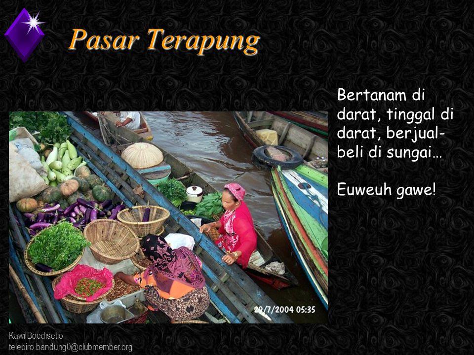 Kawi Boedisetio telebiro.bandung0@clubmember.org Pasar Terapung Bertanam di darat, tinggal di darat, berjual- beli di sungai… Euweuh gawe!