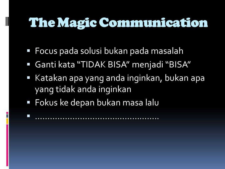 The Magic Communication  Focus pada solusi bukan pada masalah  Ganti kata TIDAK BISA menjadi BISA  Katakan apa yang anda inginkan, bukan apa yang tidak anda inginkan  Fokus ke depan bukan masa lalu  …………………………………………..