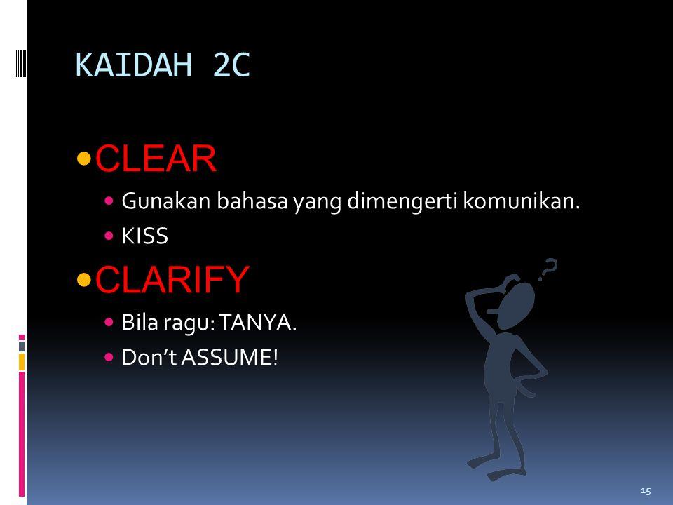 KAIDAH 2C CLEAR Gunakan bahasa yang dimengerti komunikan.