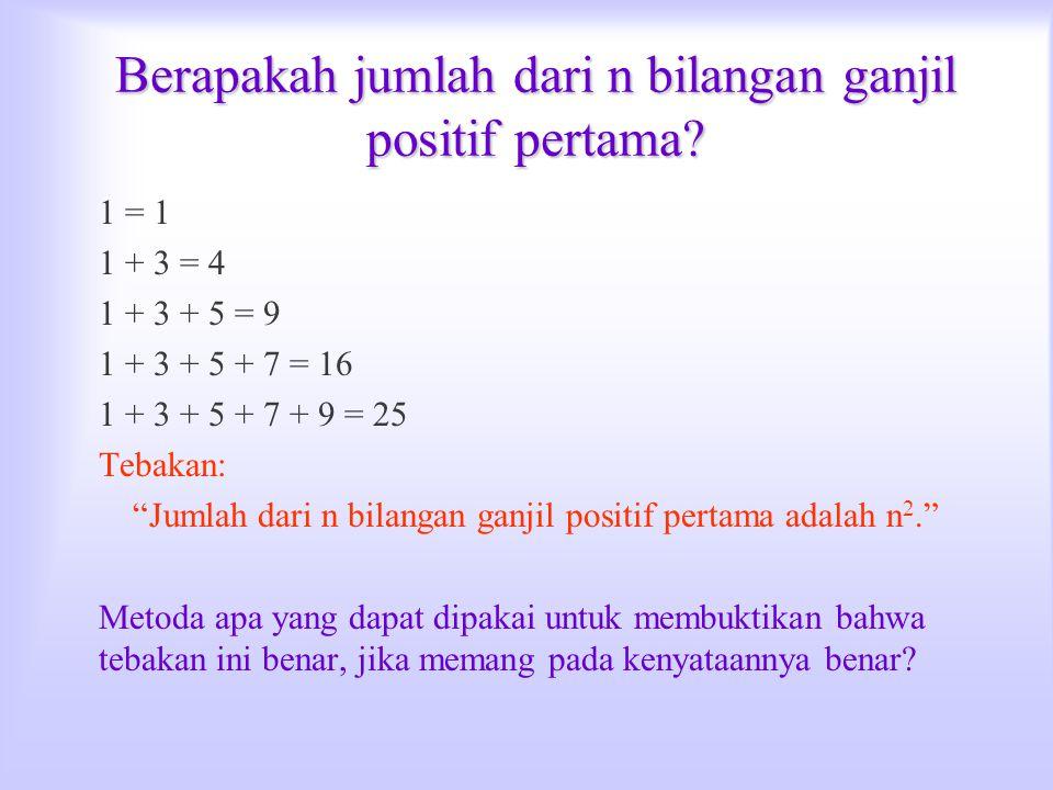 """Berapakah jumlah dari n bilangan ganjil positif pertama? 1 = 1 1 + 3 = 4 1 + 3 + 5 = 9 1 + 3 + 5 + 7 = 16 1 + 3 + 5 + 7 + 9 = 25 Tebakan: """"Jumlah dari"""