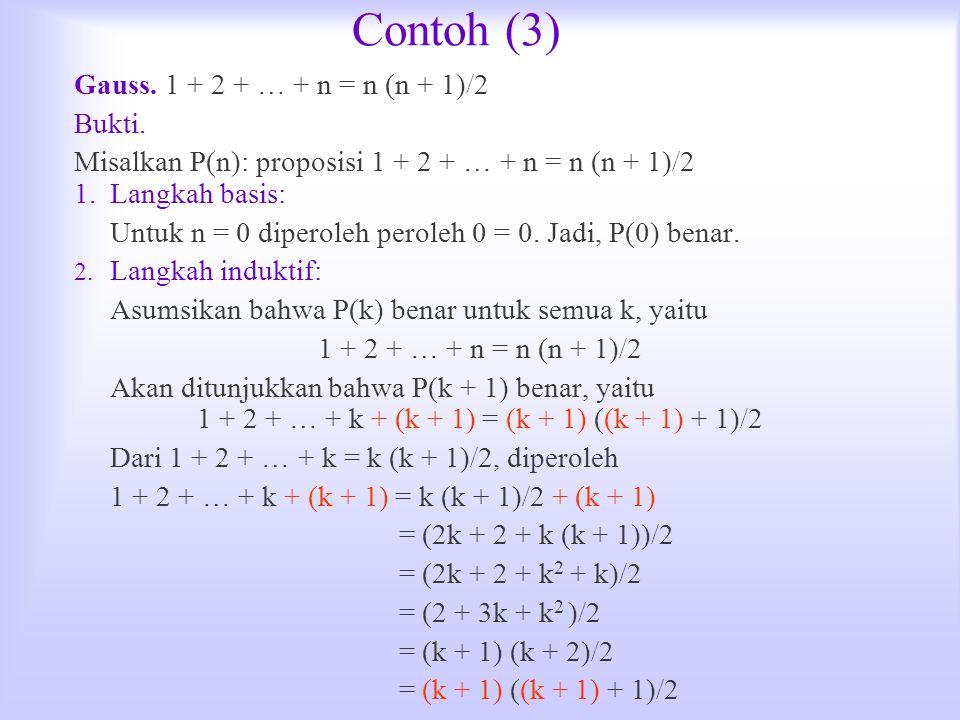 Contoh (3) Gauss. 1 + 2 + … + n = n (n + 1)/2 Bukti. Misalkan P(n): proposisi 1 + 2 + … + n = n (n + 1)/2 1.Langkah basis: Untuk n = 0 diperoleh perol