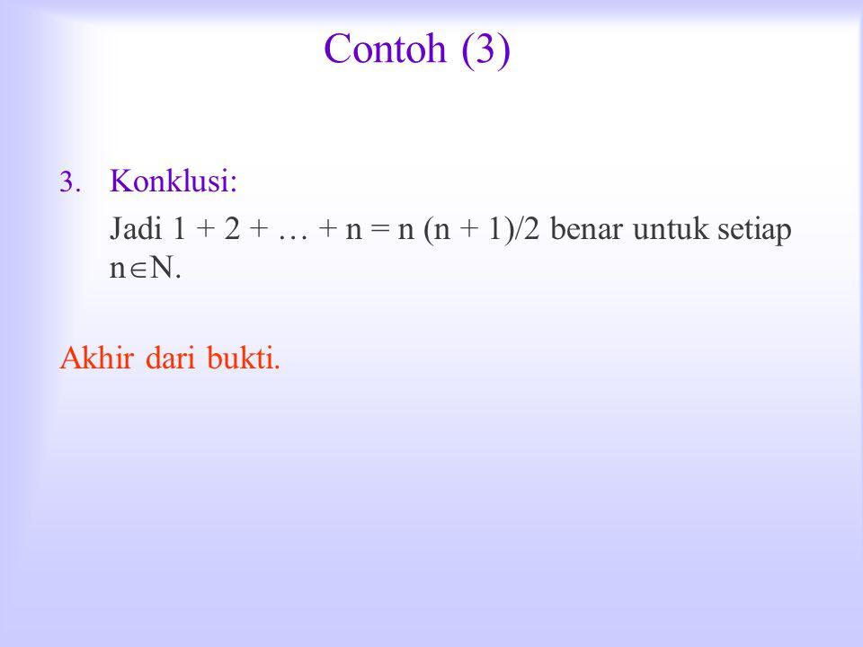 Contoh (3) 3. Konklusi: Jadi 1 + 2 + … + n = n (n + 1)/2 benar untuk setiap n  N. Akhir dari bukti.