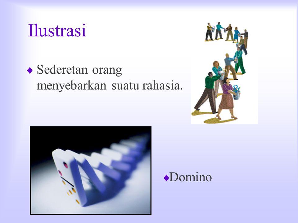 Ilustrasi  Sederetan orang menyebarkan suatu rahasia.  Domino