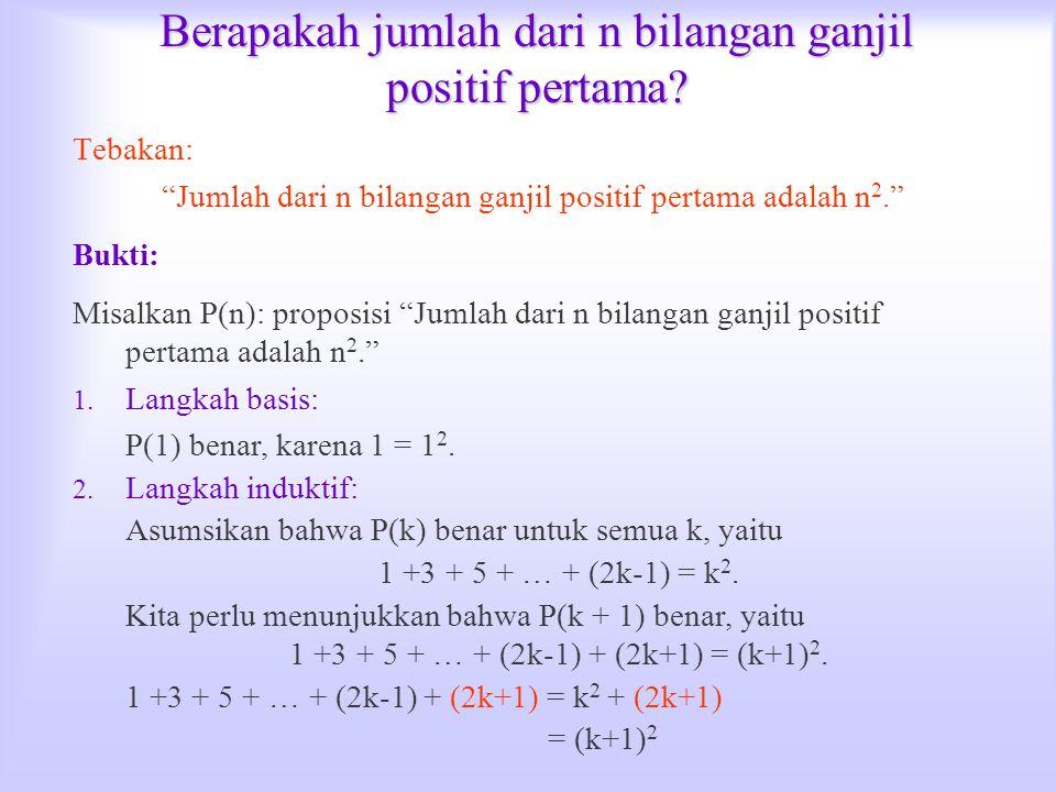 """Berapakah jumlah dari n bilangan ganjil positif pertama? Tebakan: """"Jumlah dari n bilangan ganjil positif pertama adalah n 2."""" Bukti: Misalkan P(n): pr"""
