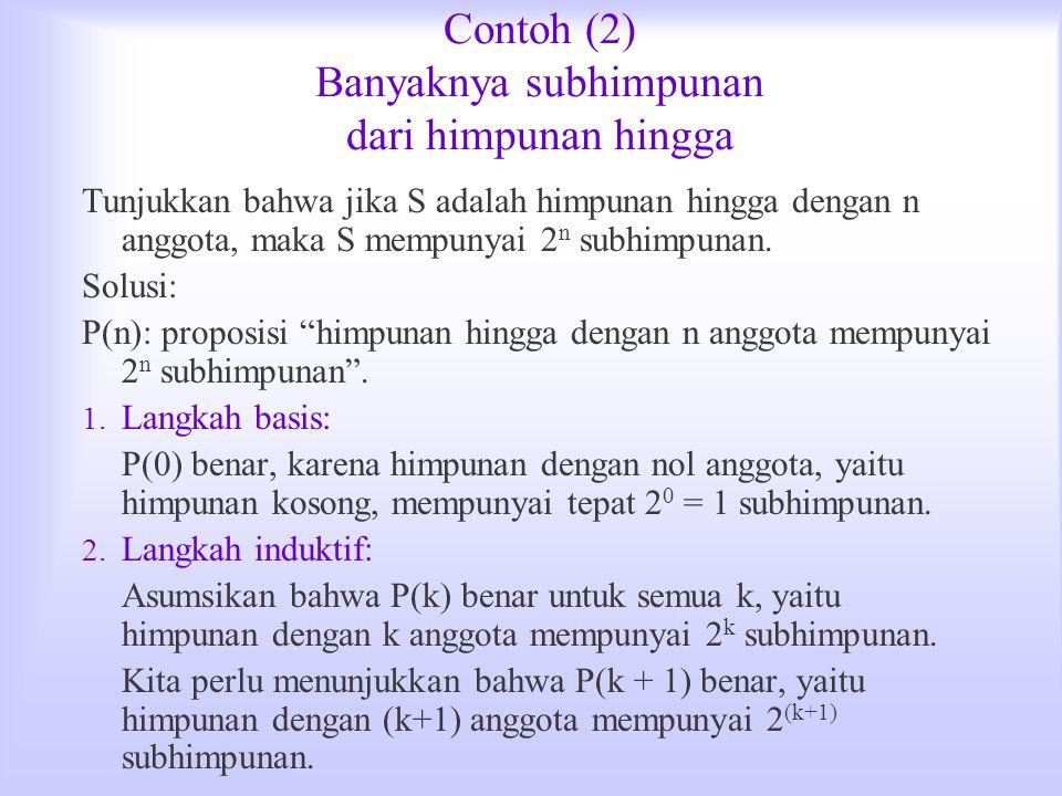 Contoh (2) Banyaknya subhimpunan dari himpunan hingga Tunjukkan bahwa jika S adalah himpunan hingga dengan n anggota, maka S mempunyai 2 n subhimpunan