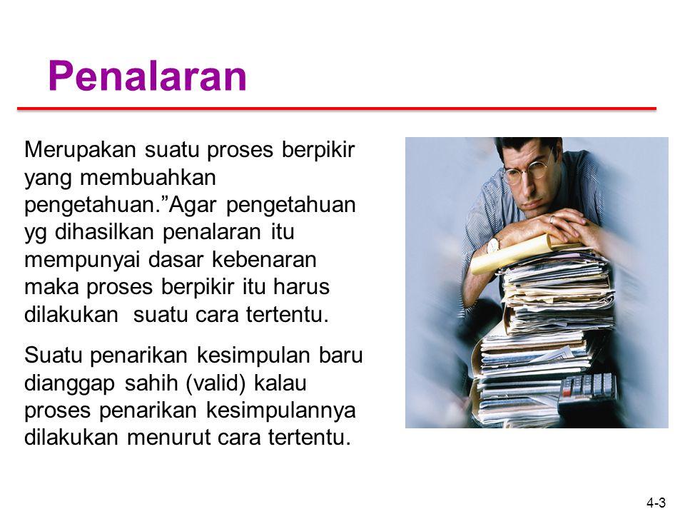 4-3 Penalaran Merupakan suatu proses berpikir yang membuahkan pengetahuan. Agar pengetahuan yg dihasilkan penalaran itu mempunyai dasar kebenaran maka proses berpikir itu harus dilakukan suatu cara tertentu.