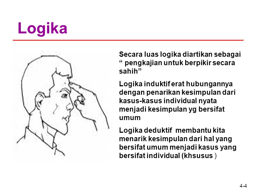 4-4 Logika Secara luas logika diartikan sebagai pengkajian untuk berpikir secara sahih Logika induktif erat hubungannya dengan penarikan kesimpulan dari kasus-kasus individual nyata menjadi kesimpulan yg bersifat umum Logika deduktif membantu kita menarik kesimpulan dari hal yang bersifat umum menjadi kasus yang bersifat individual (khsusus )