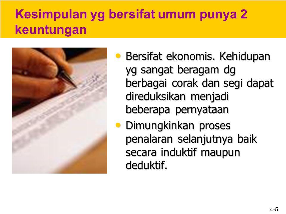 4-5 Kesimpulan yg bersifat umum punya 2 keuntungan Bersifat ekonomis.
