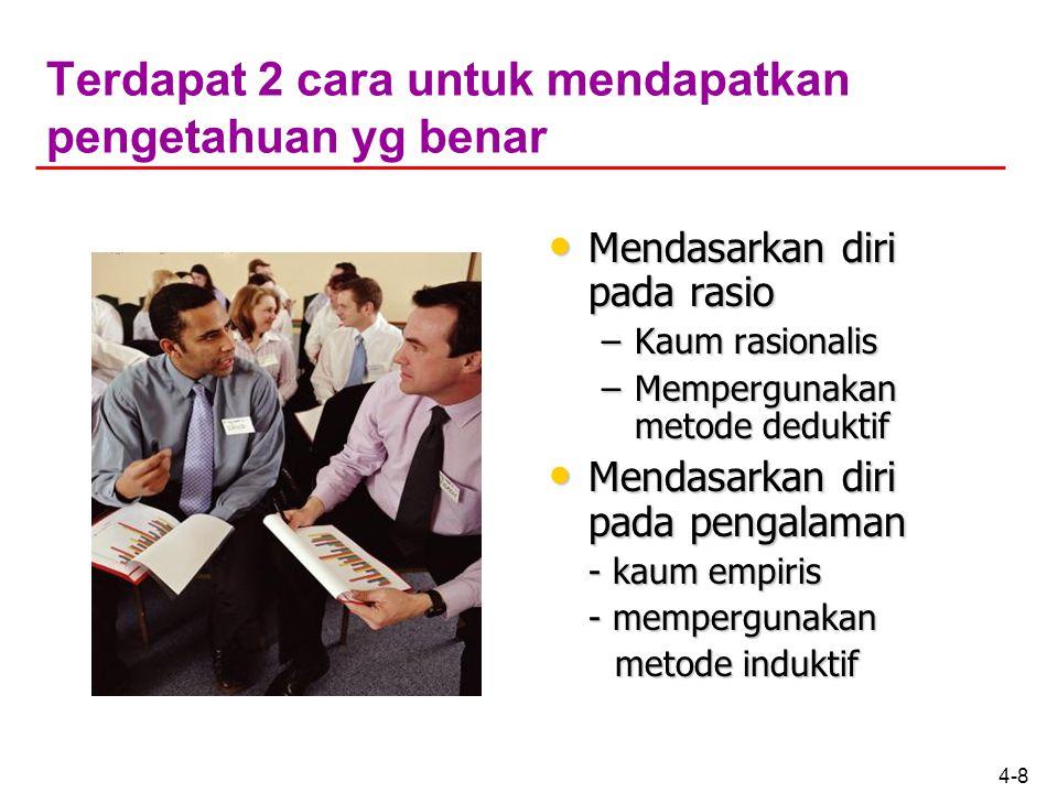 4-18 Kriteria kebenaran Sekiranya orang lain yang menyatakan bahwa ibu kota RI adalah Bandung maka pernyataan itu adalah tidak benar sebab tidak terdapat obyek yang dengan pernyataan tersebut.