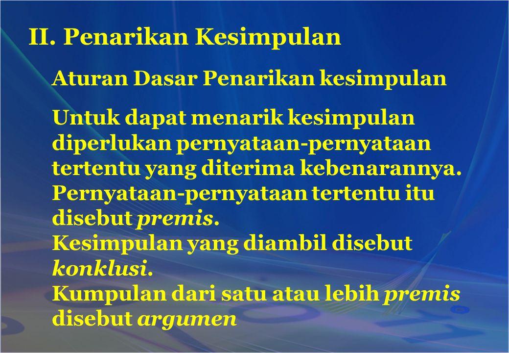 II. Penarikan Kesimpulan Aturan Dasar Penarikan kesimpulan Untuk dapat menarik kesimpulan diperlukan pernyataan-pernyataan tertentu yang diterima kebe