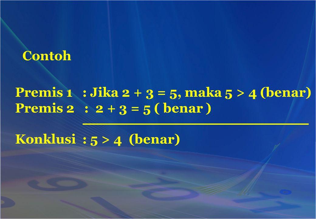 Contoh Premis 1 : Jika 2 + 3 = 5, maka 5 > 4 (benar) Premis 2 : 2 + 3 = 5 ( benar ) Konklusi : 5 > 4 (benar)