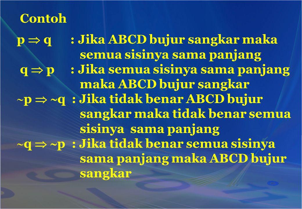 Contoh p  q : Jika ABCD bujur sangkar maka semua sisinya sama panjang q  p : Jika semua sisinya sama panjang maka ABCD bujur sangkar pp   q : Ji