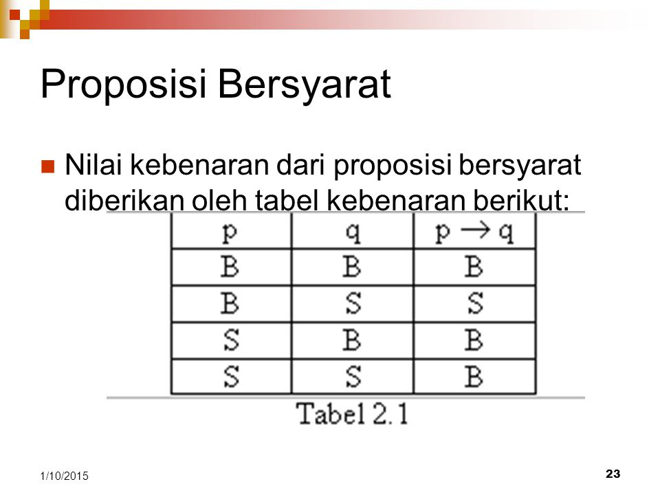23 1/10/2015 Proposisi Bersyarat Nilai kebenaran dari proposisi bersyarat diberikan oleh tabel kebenaran berikut: