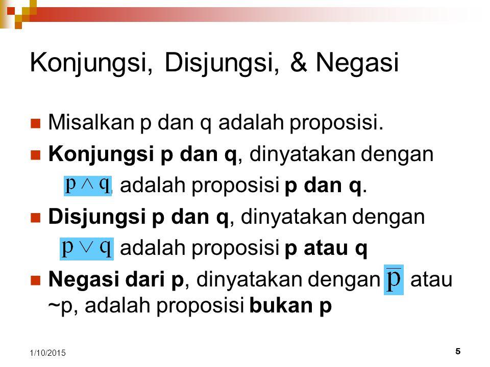 5 1/10/2015 Konjungsi, Disjungsi, & Negasi Misalkan p dan q adalah proposisi. Konjungsi p dan q, dinyatakan dengan, adalah proposisi p dan q. Disjungs