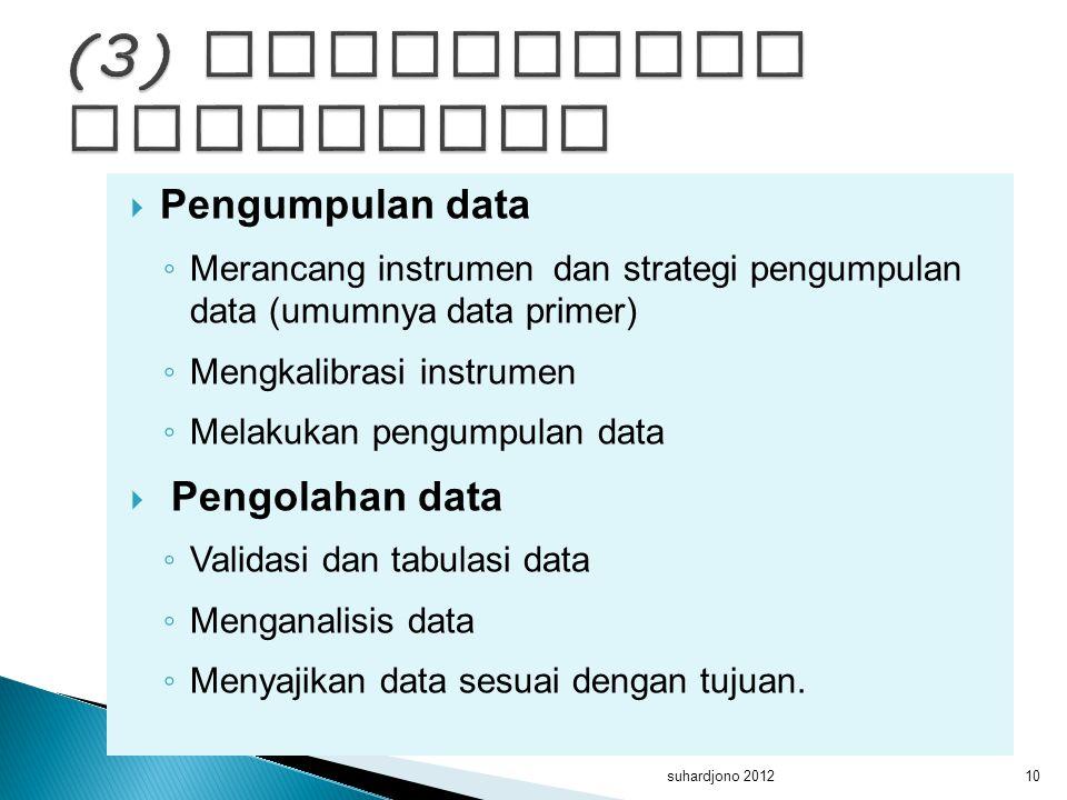  Pengumpulan data ◦ Merancang instrumen dan strategi pengumpulan data (umumnya data primer) ◦ Mengkalibrasi instrumen ◦ Melakukan pengumpulan data 