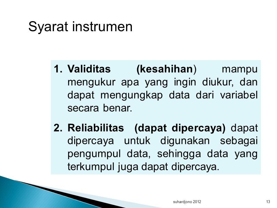 suhardjono 201213 1.Validitas (kesahihan) mampu mengukur apa yang ingin diukur, dan dapat mengungkap data dari variabel secara benar. 2.Reliabilitas (