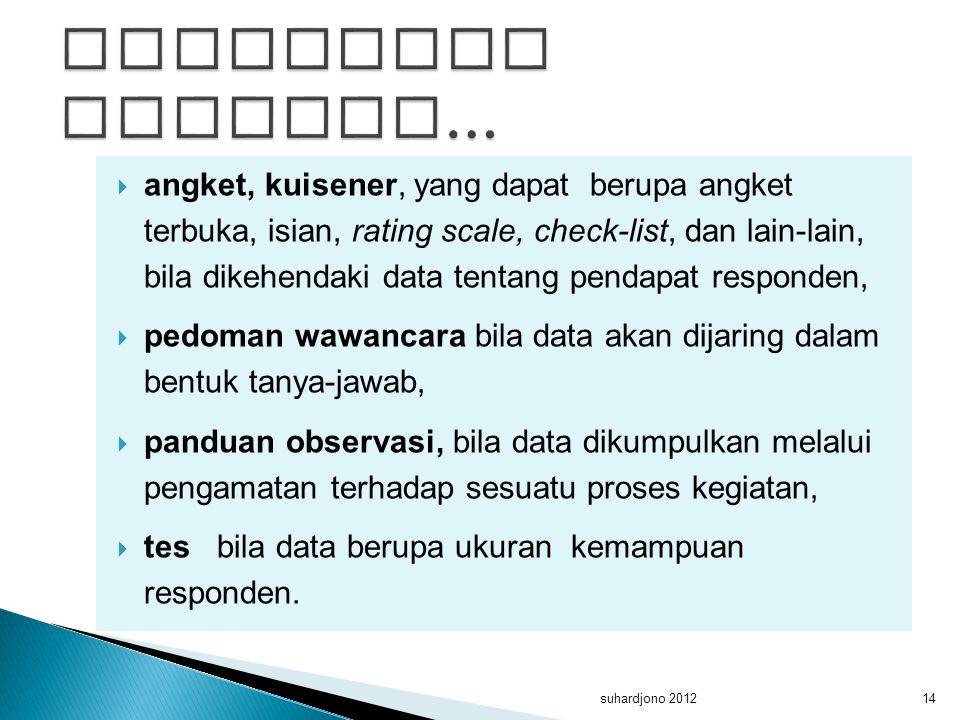  angket, kuisener, yang dapat berupa angket terbuka, isian, rating scale, check-list, dan lain-lain, bila dikehendaki data tentang pendapat responden