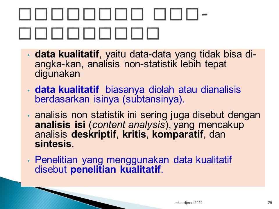 data kualitatif, yaitu data-data yang tidak bisa di- angka-kan, analisis non-statistik lebih tepat digunakan data kualitatif biasanya diolah atau dian
