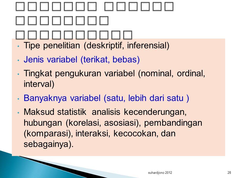 Tipe penelitian (deskriptif, inferensial) Jenis variabel (terikat, bebas) Tingkat pengukuran variabel (nominal, ordinal, interval) Banyaknya variabel
