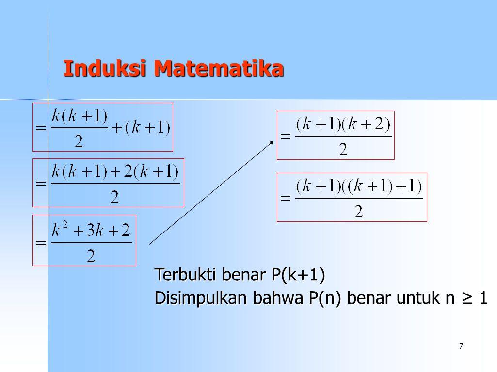 7 Induksi Matematika Terbukti benar P(k+1) Disimpulkan bahwa P(n) benar untuk n ≥ 1