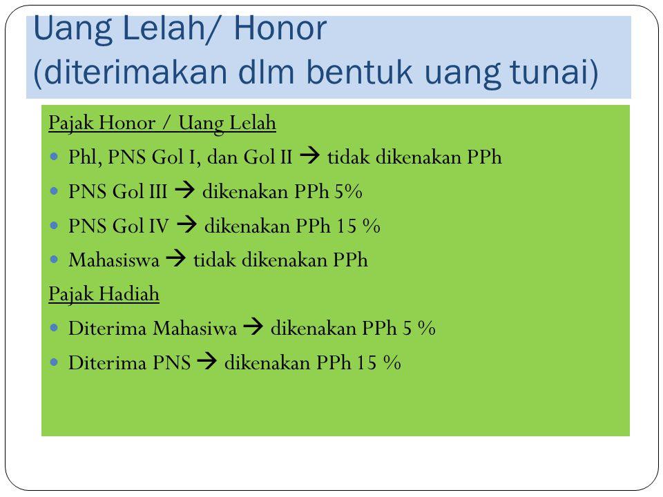 Uang Lelah/ Honor (diterimakan dlm bentuk uang tunai) Pajak Honor / Uang Lelah Phl, PNS Gol I, dan Gol II  tidak dikenakan PPh PNS Gol III  dikenaka