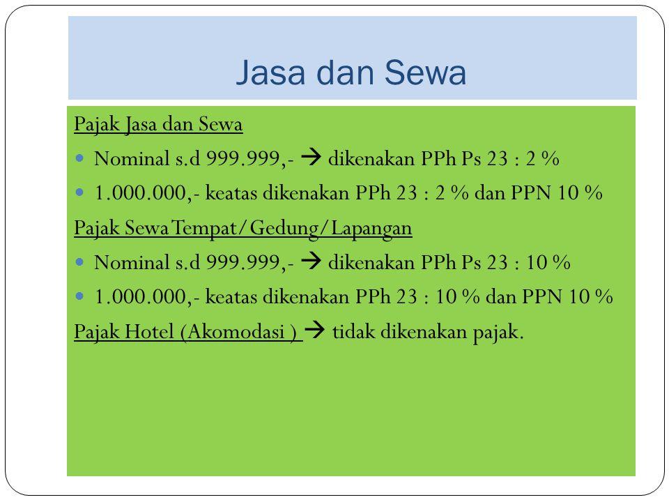 Jasa dan Sewa Pajak Jasa dan Sewa Nominal s.d 999.999,-  dikenakan PPh Ps 23 : 2 % 1.000.000,- keatas dikenakan PPh 23 : 2 % dan PPN 10 % Pajak Sewa