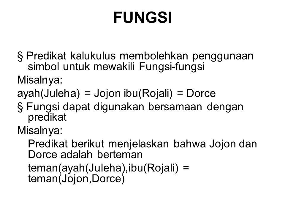 FUNGSI § Predikat kalukulus membolehkan penggunaan simbol untuk mewakili Fungsi-fungsi Misalnya: ayah(Juleha) = Jojon ibu(Rojali) = Dorce § Fungsi dap